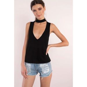 Tobi Tops - Tobi Black Cutout Choker Tank Top